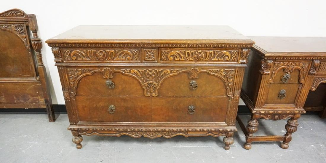 4 PIECE CARVED WALNUT BEDROOM SET. HAS WEAR. - 4