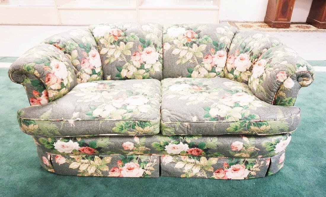 KINDEL SOFA IN ROSE UPHOLSTERY. 27 INCHES HIGH. 64