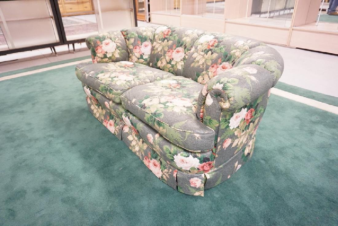 KINDEL SOFA IN ROSE UPHOLSTERY. 27 INCHES HIGH. 64 - 2