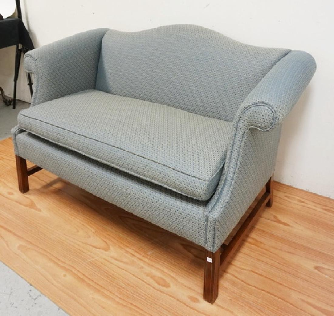 UPHOLSTERED SETTEE WITH CHIPPENDALE LEGS. 57 INCHES - 2