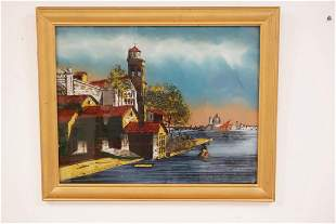 REVERSE PAINTING ON GLASS TITLED SCENE IN VENICE 19