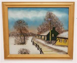 REVERSE PAINTING ON GLASS TITLED WINTER IN HOLLAND
