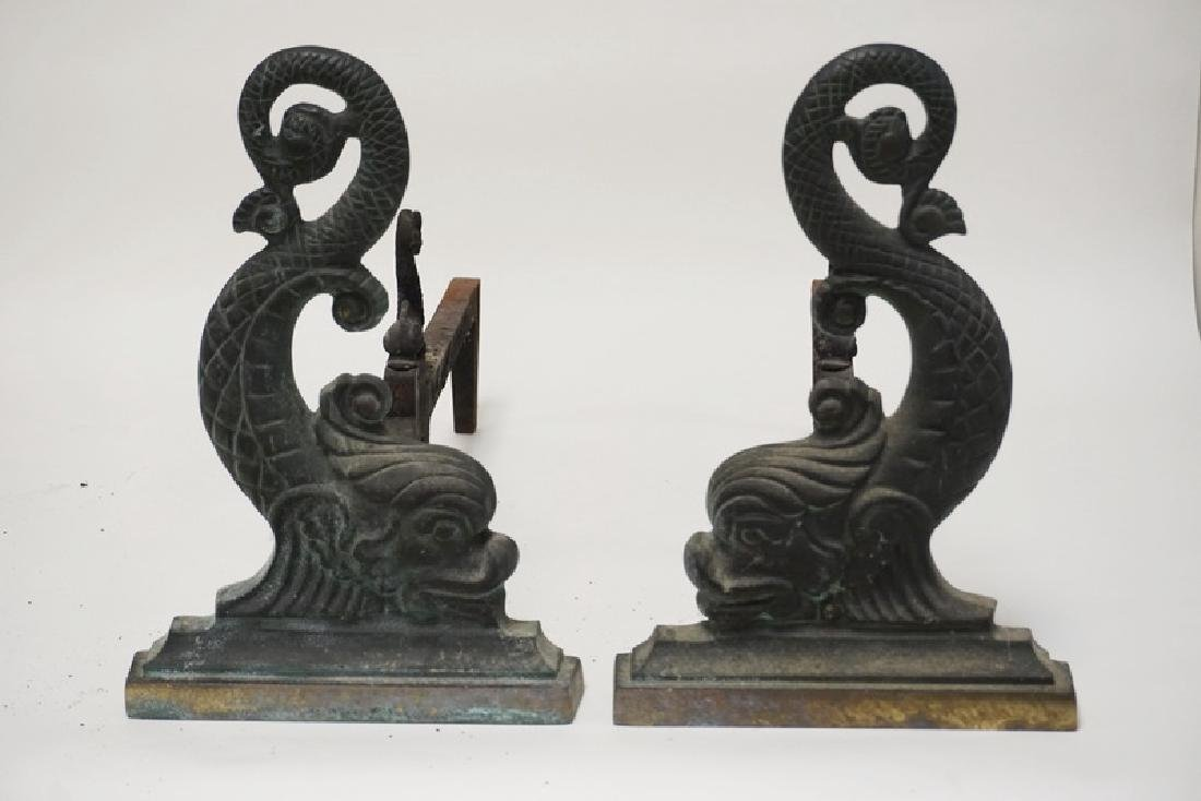 PAIR OF VIRGINIA METALCRAFTERS CAST BRASS DOLPHIN