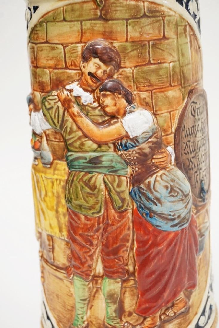 VERY LARGE GERMAN STEIN MEASURING 19 1/2 INCHES HIGH. - 2