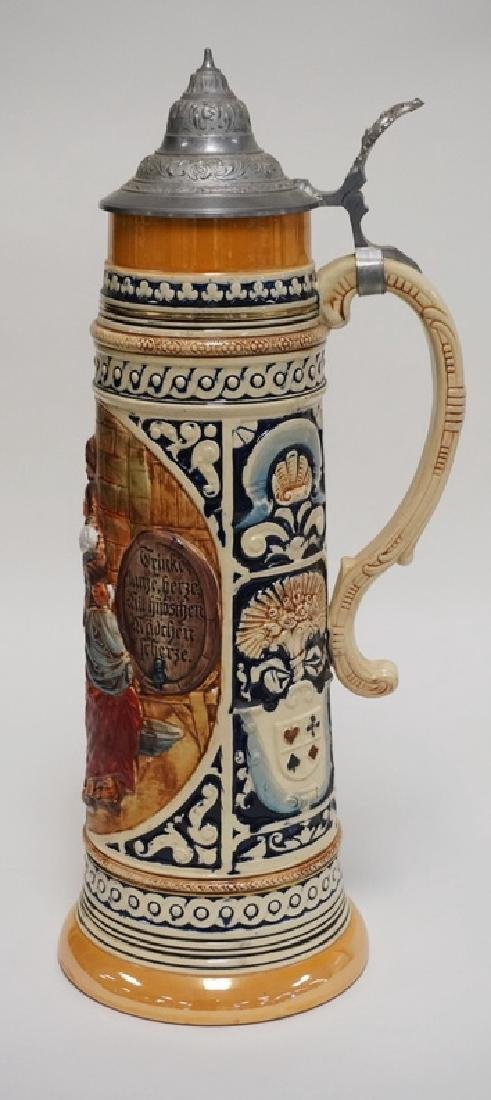 VERY LARGE GERMAN STEIN MEASURING 19 1/2 INCHES HIGH. - 3