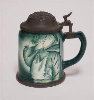 GERMAN STEIN WITH AN IMAGE OF A DRINKING MONK AND A