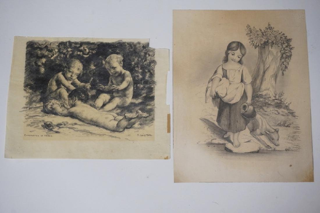 LOT OF 2 VERY FINE PENCIL DRAWINGS. ONE BY LUIS MORA