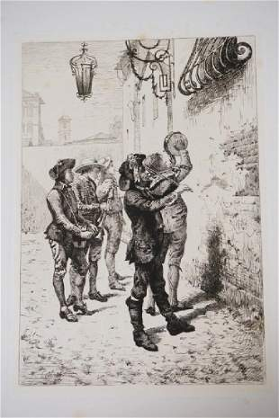 ORESTE CORTAZZO ETCHING OF A GROUP OF MEN SERENADING A