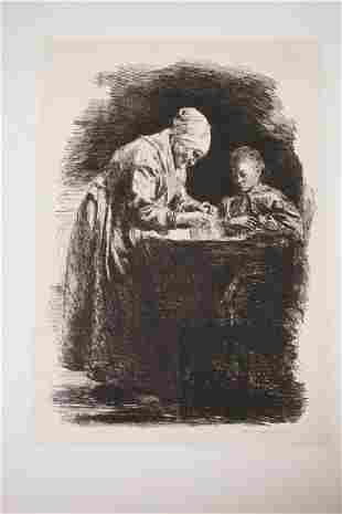 EUGENE BURNAND ETCHING OF A WOMAN AND A CHILD 10 12 X