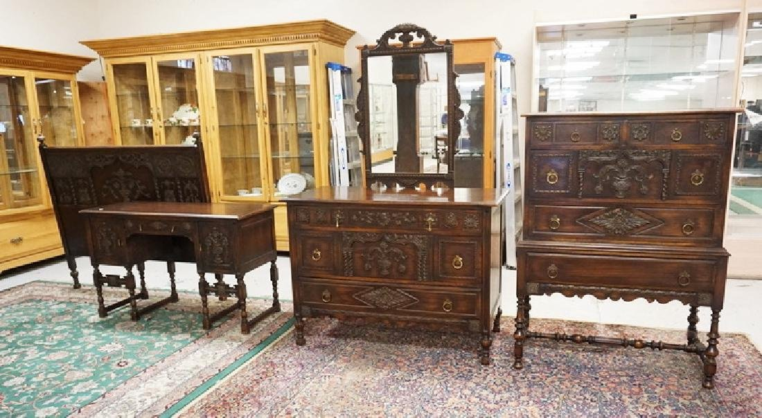 6 PIECE CARVED OAK BEDROOM SET. CARVED WITH URNS,