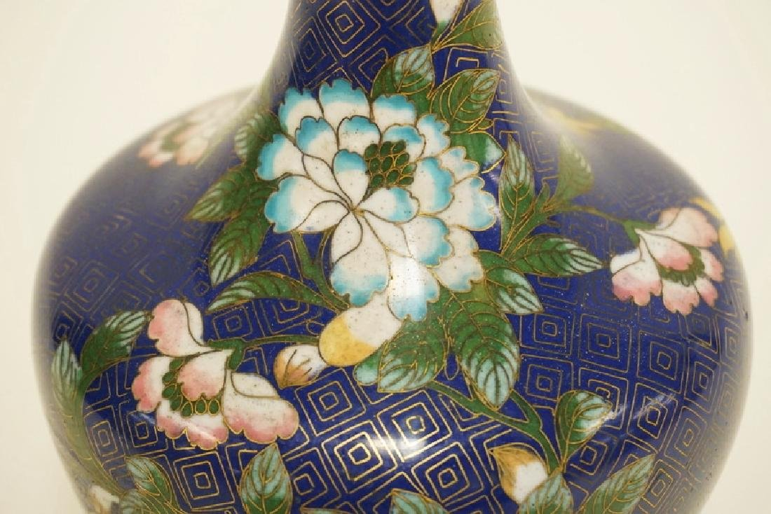 CLOISONNE VASE DECORATED WITH FLOWERS. 9 INCHES HIGH. - 2