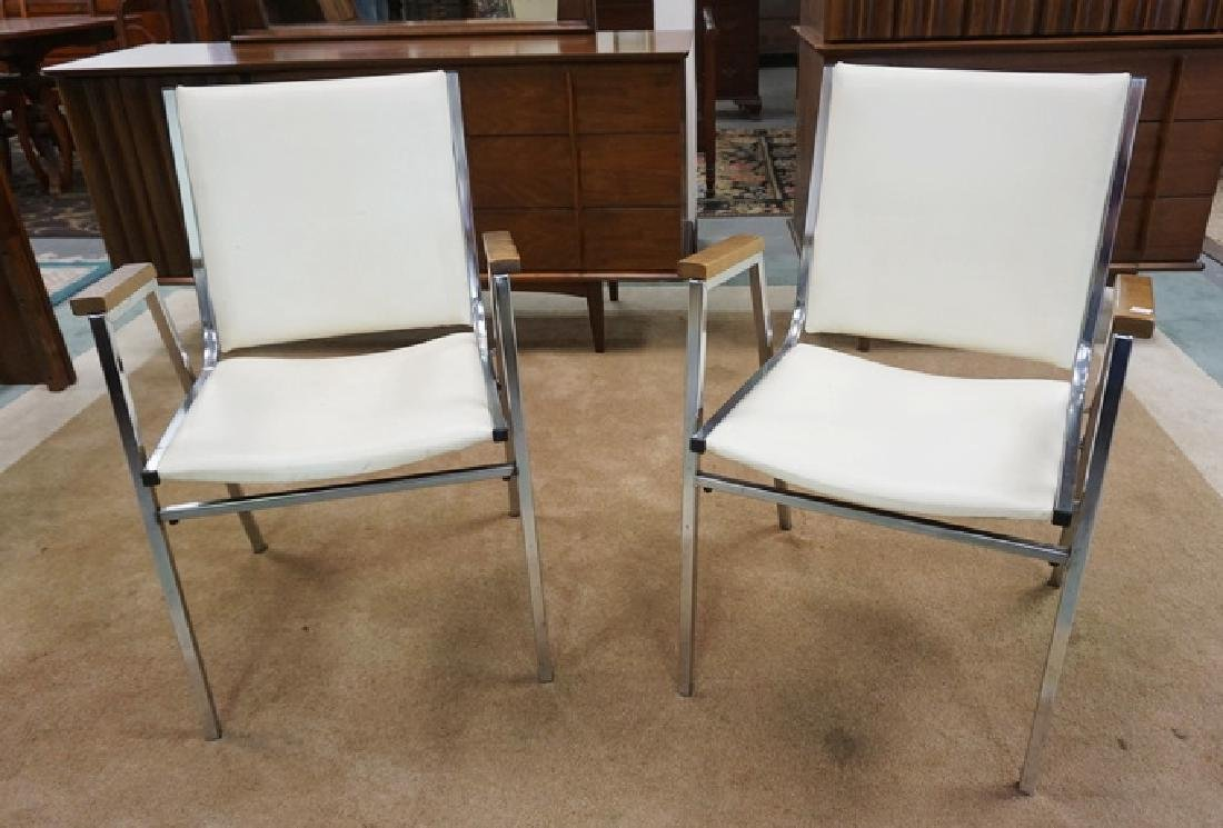 PAIR OF MID CENTURY MODERN CHROME AND IVORY LEATHER