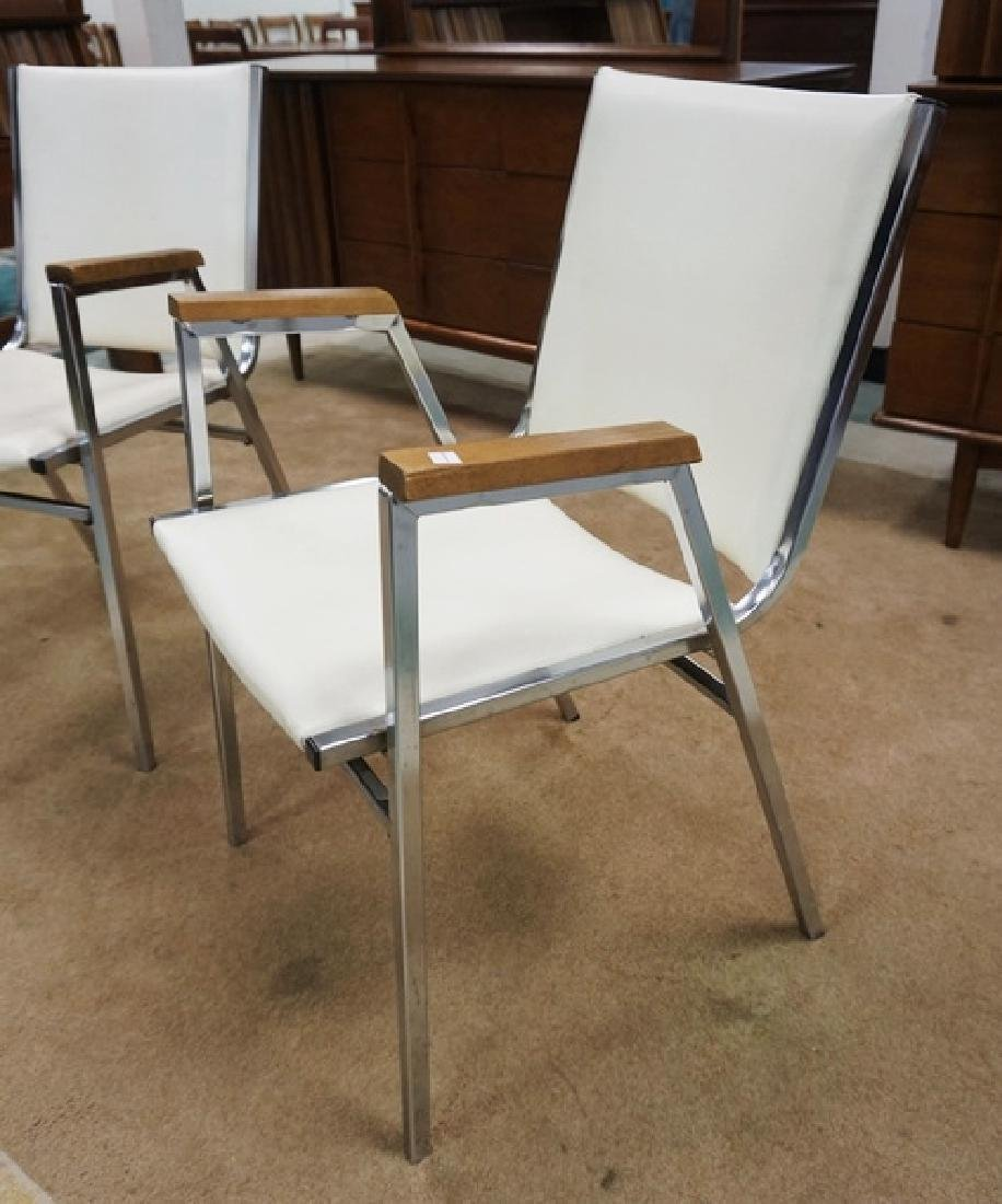PAIR OF MID CENTURY MODERN CHROME AND IVORY LEATHER - 2