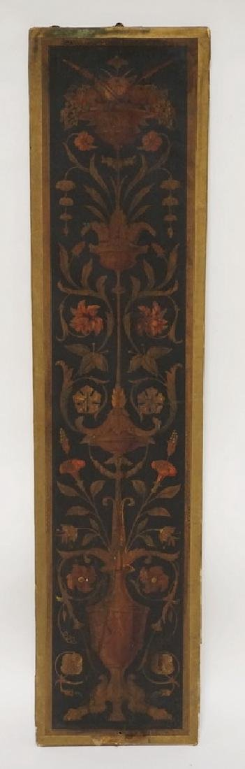 19TH CENTURY PANEL CONSISTING OF FLOWERING URNS PAINTED