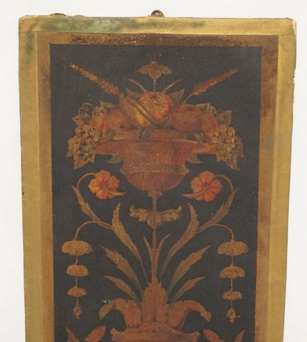 19TH CENTURY PANEL CONSISTING OF FLOWERING URNS PAINTED - 2