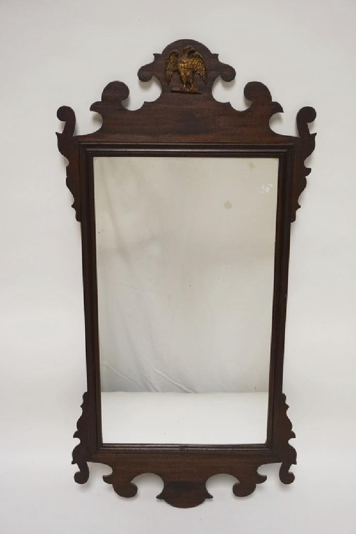 ANTIQUE CHIPPENDALE STYLE SCROLL CUT MIRROR WITH