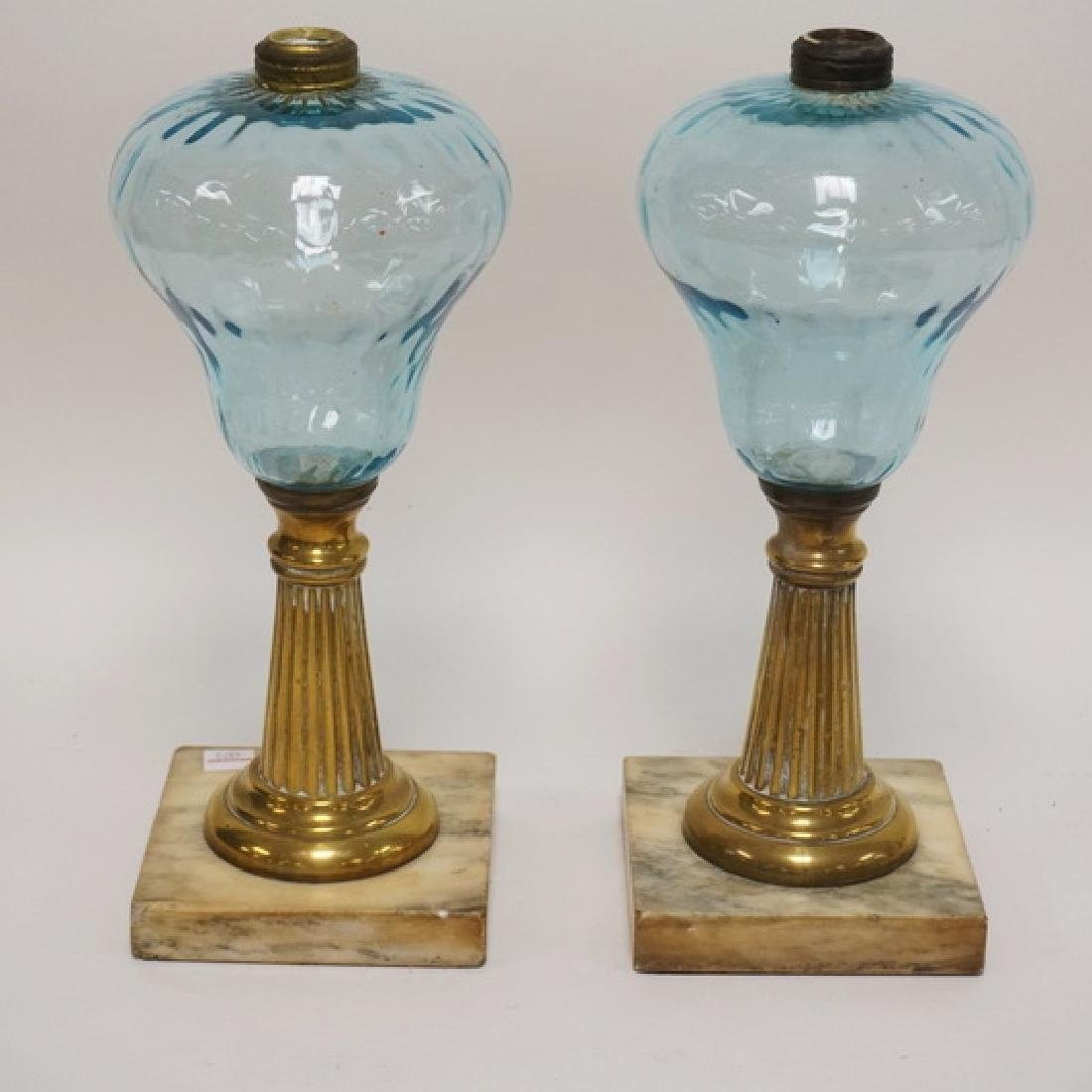 PAIR OF ANTIQUE BLUE GLASS OIL LAMPS WITH BRASS AND