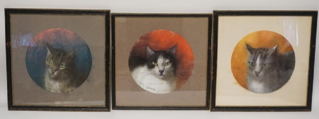 LOT OF 3 PASTEL DRAWINGS OF CATS. EACH IMAGE MEASURING