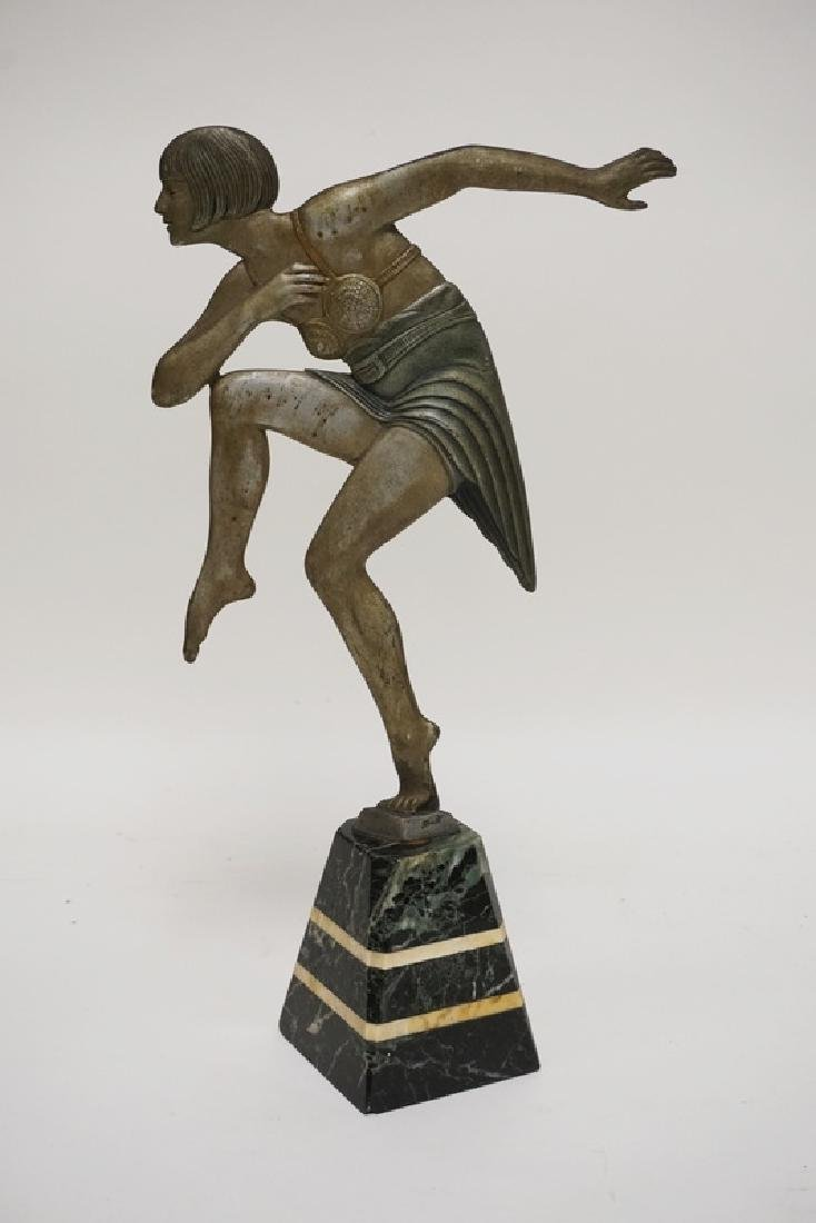 ART DECO SCULPTURE SIGNED *JANLE*. 15 1/2 INCHES HIGH.