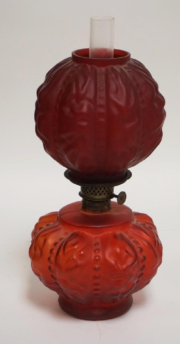 MINIATURE RED SATIN GLASS OIL LAMP WITH MOLDED RUFFLED