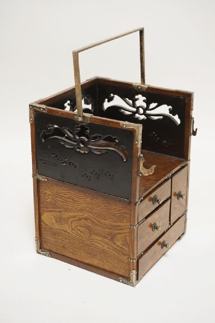 ASIAN WRITING CADDY WITH CUTWORK PANELS,4 DRAWERS, AND - 2