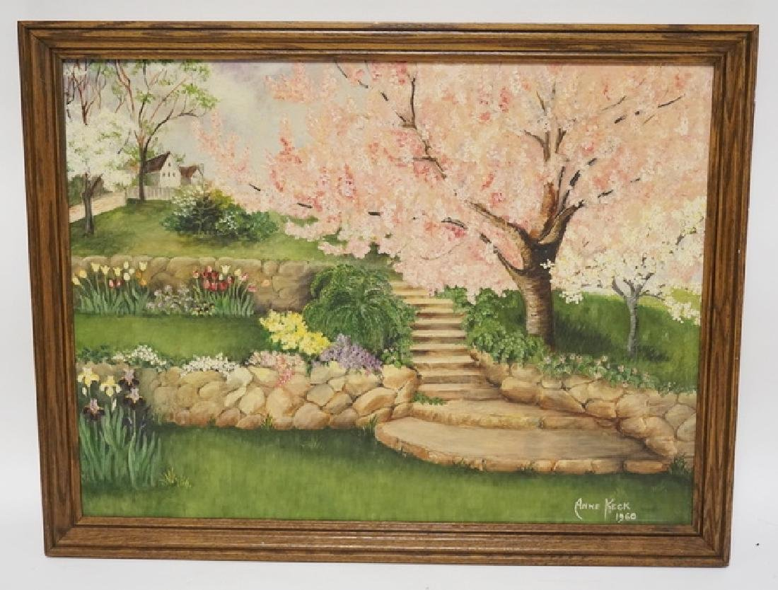 ANNE KECK OIL PAINTING ON BOARD OF A LANDSCAPED YARD
