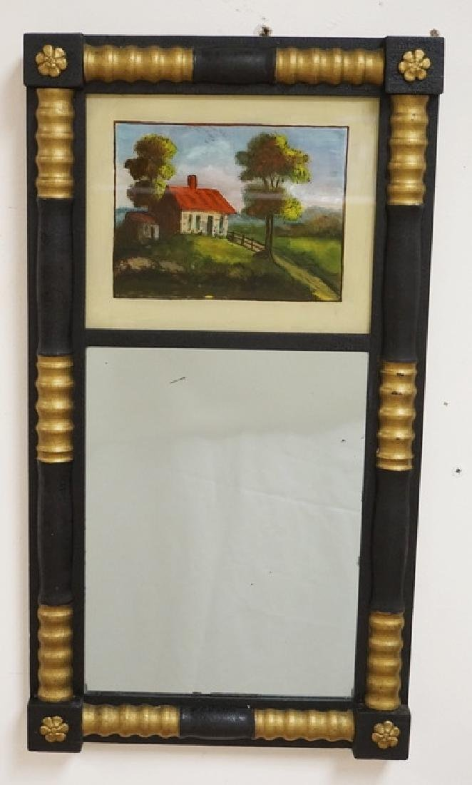 WALL MIRROR IN BLACK AND GOLD WITH A REVERSE PAINTED