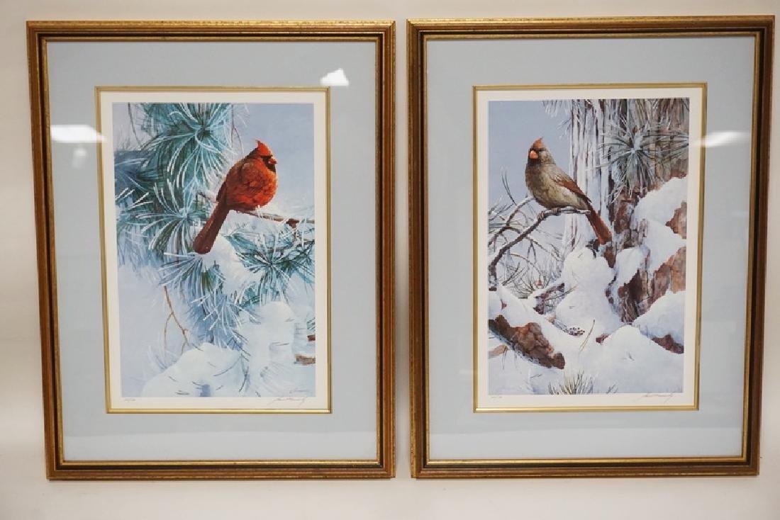 PAIR OF PENCIL SIGNED BIRD PRINTS OF CARDINALS TITLED