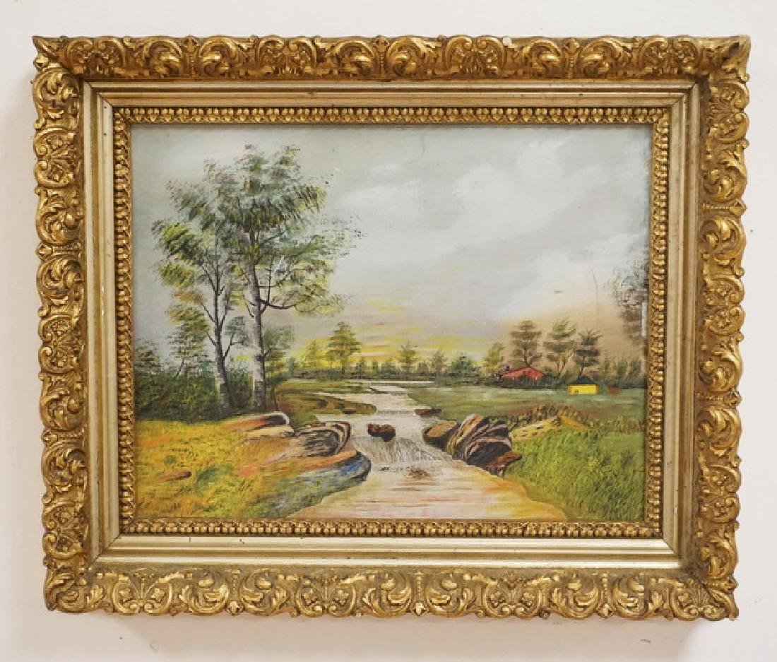 OIL PAINTING ON BOARD OF A COUNTRY PANDSCAPE WITH A