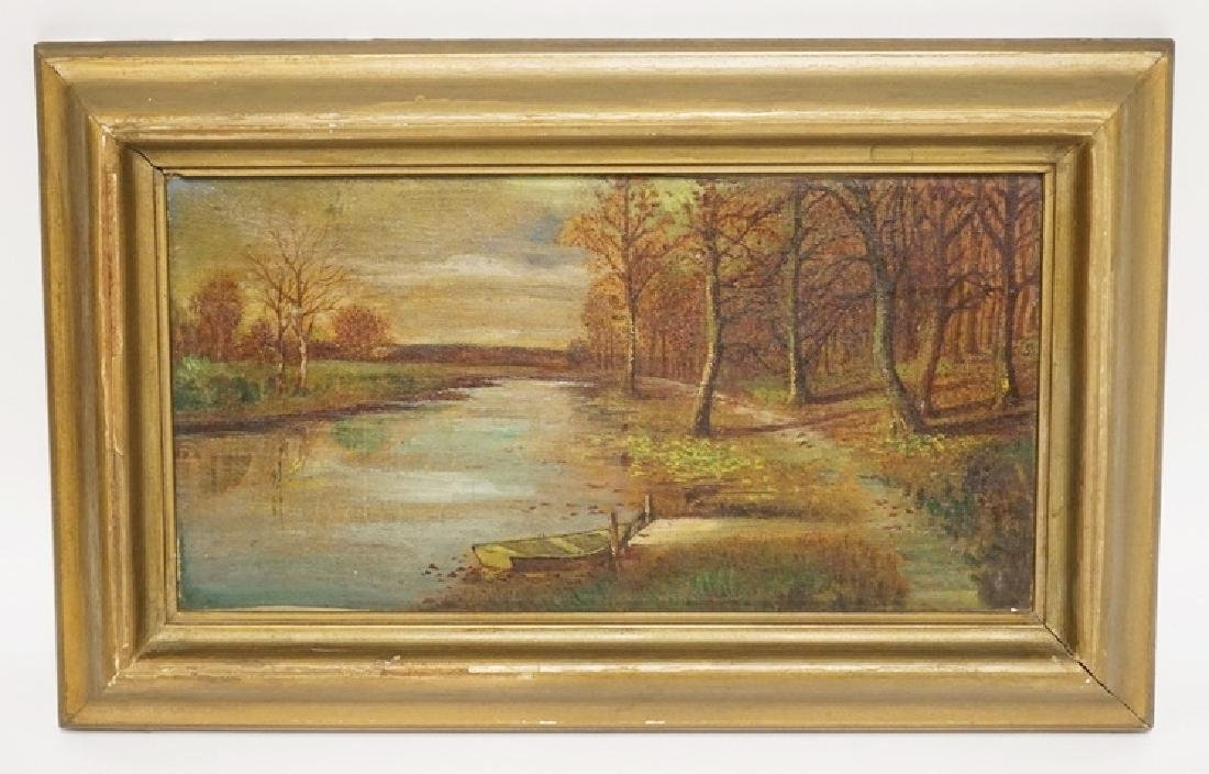 OIL PAINTING ON CANVAS OF A WOODED LANSCAPE BY A RIVER.