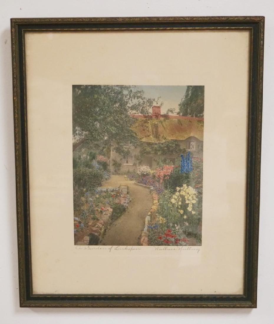 WALLACE NUTTING *A GARDEN OF LARKSPUR* HAND COLORED