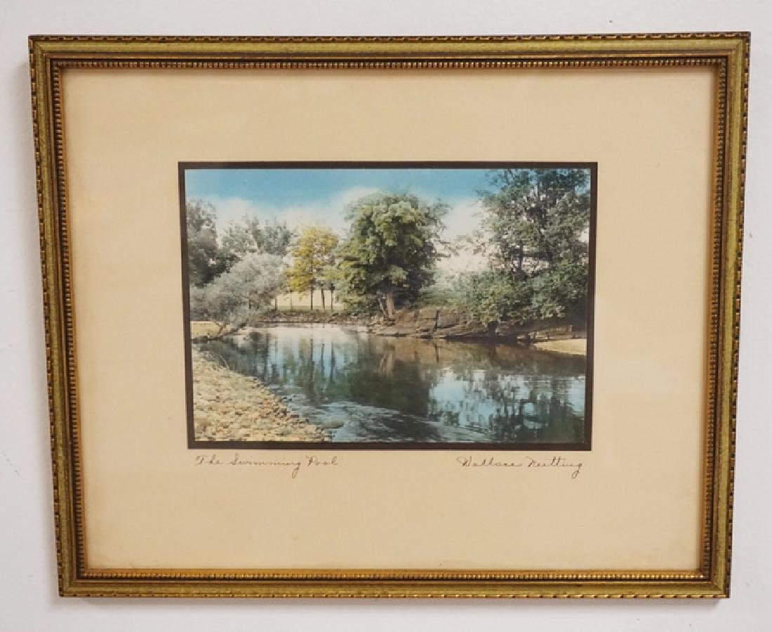 WALLACE NUTTING *THE SWIMMING POOL* HAND COLORED PRINT.