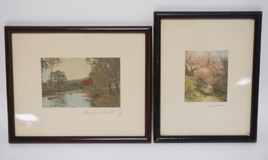 2 WALLACE NUTTING HAND COLORED PRINTS. LARGEST IS 5 3/4
