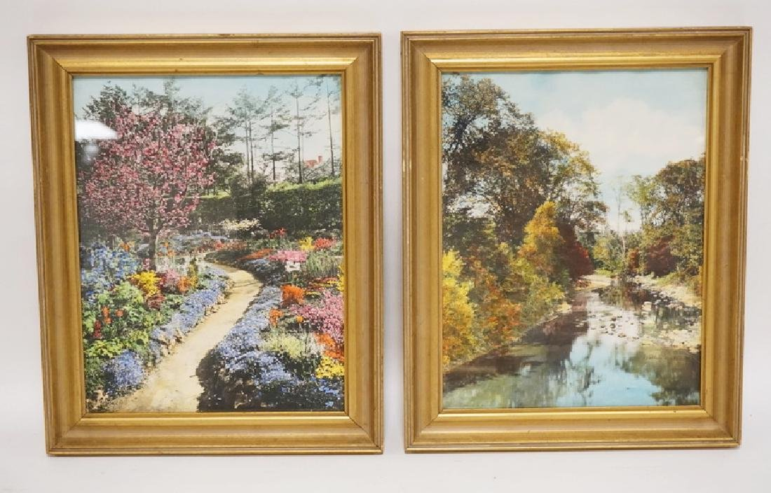 2 WALLACE NUTTING HAND COLORED PRINTS. 10 X 13 INCH