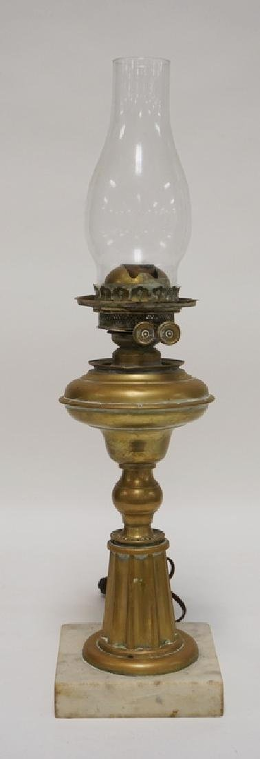 ANTIQUE BRASS OIL LAMP (ELECTRIFIED). MARBLE BASE. 22