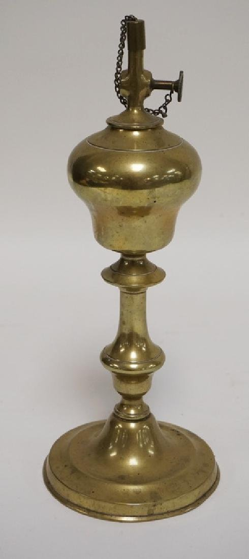 BRASS OIL LAMP. BURNER DIAL READING *PV* FLAKING A
