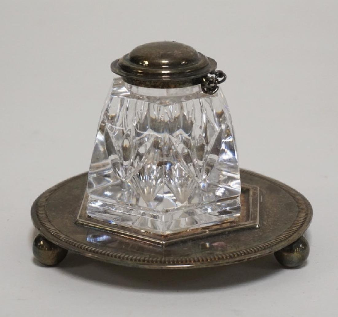 WATERFORD CRYSTAL INKWELL WITH SILVER PLATED STAND. 2