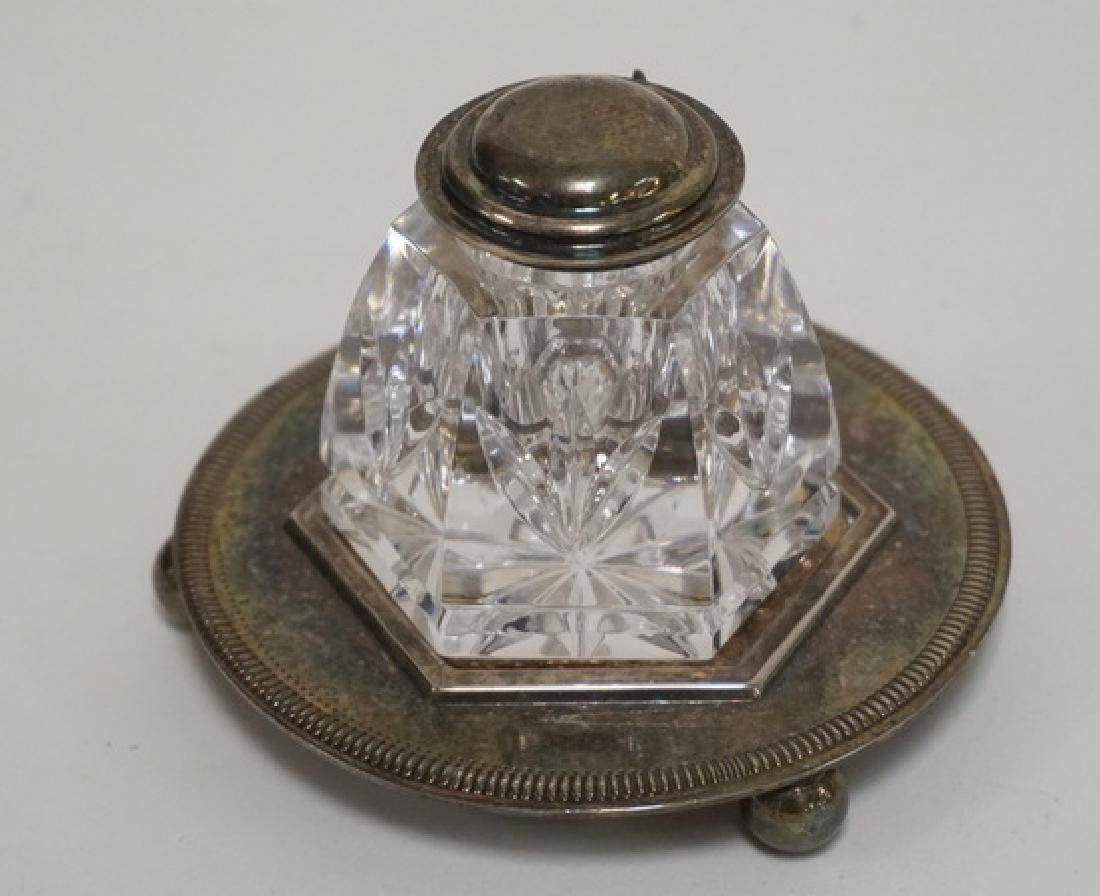 WATERFORD CRYSTAL INKWELL WITH SILVER PLATED STAND. 2 - 2