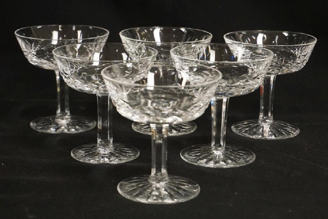 SET OF 6 WATERFORD CRYSTAL CHAMPAGNES. 4 1/8 INCHES