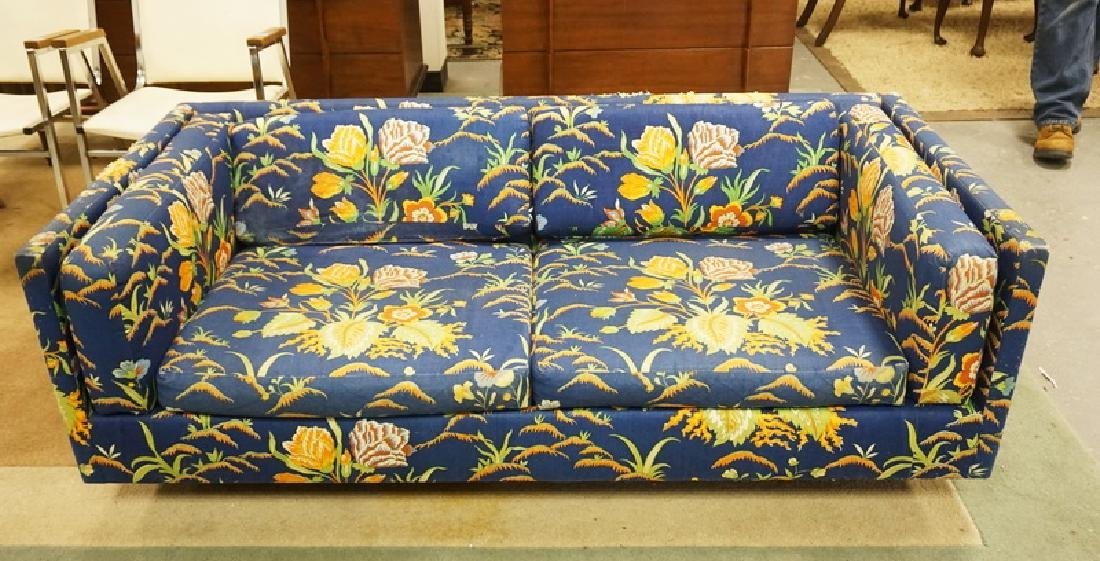 HARVEY PROBBER MCM LOVESEAT. FLORAL UPHOLSTERY HAS SOME