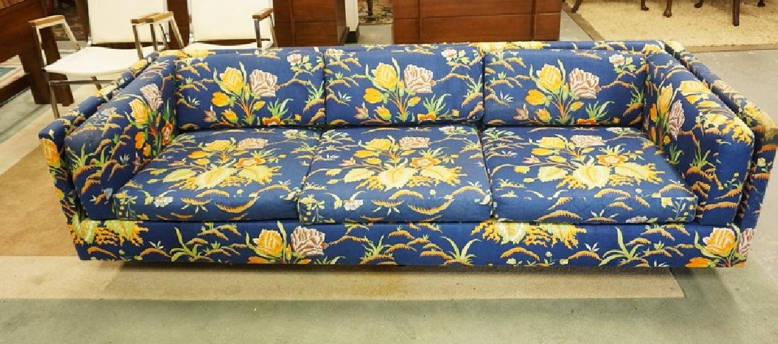 HARVEY PROBBER MCM SOFA. FLORAL UPHOLSTERY HAS LOSSES.