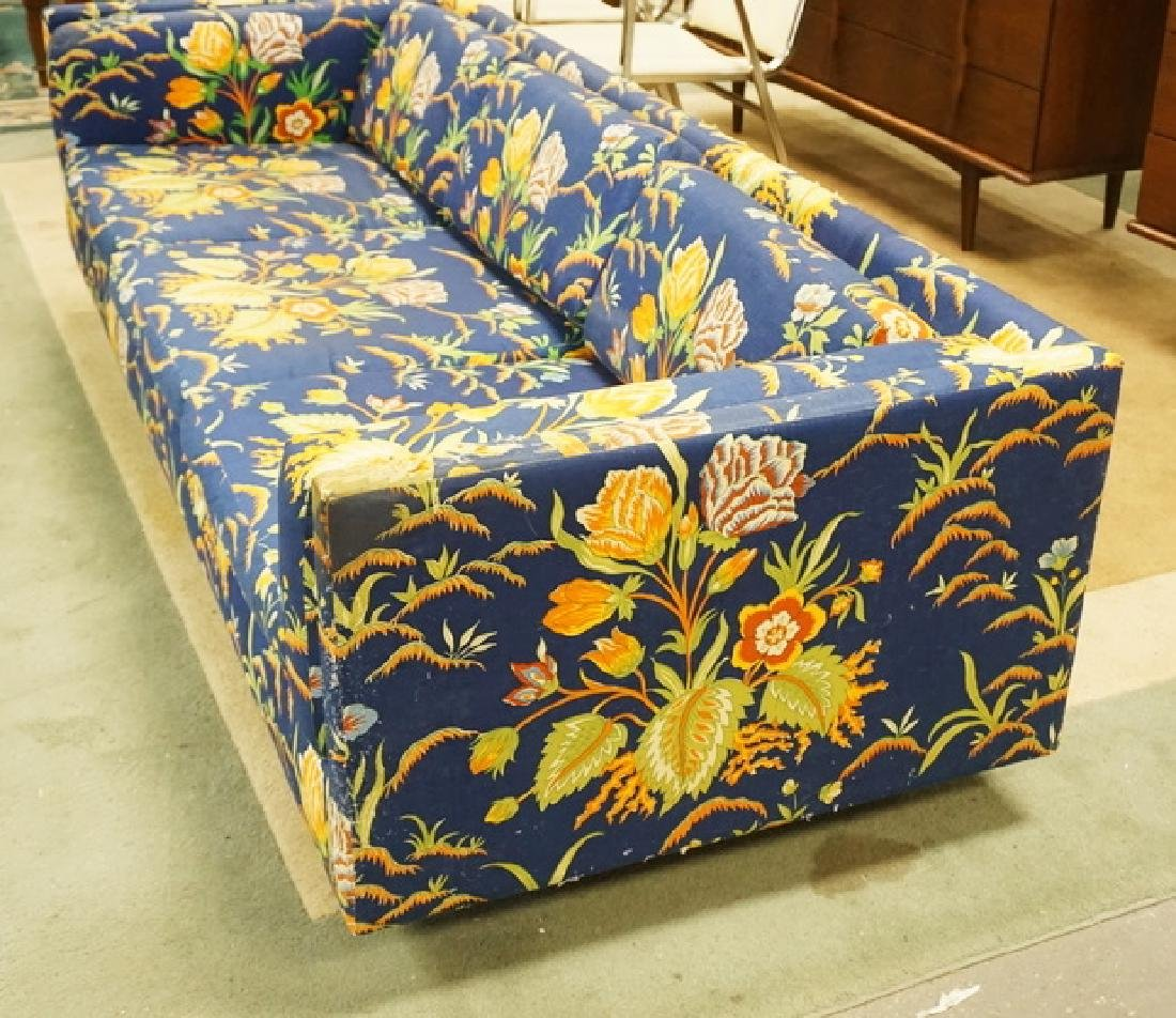 HARVEY PROBBER MCM SOFA. FLORAL UPHOLSTERY HAS LOSSES. - 2
