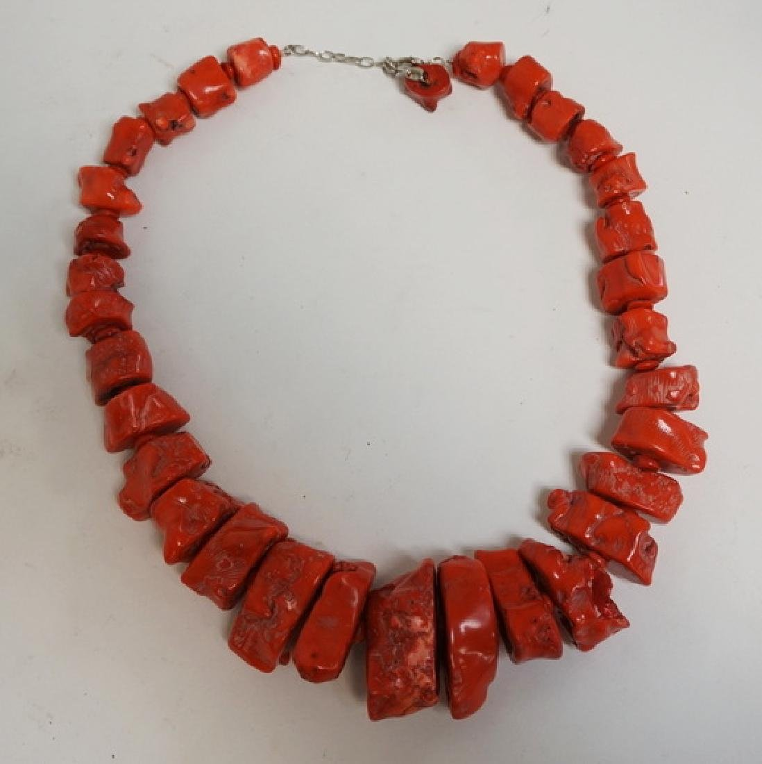 RED CORAL NECKLACE WITH VERY LARGE CORAL CHUNKS. 24