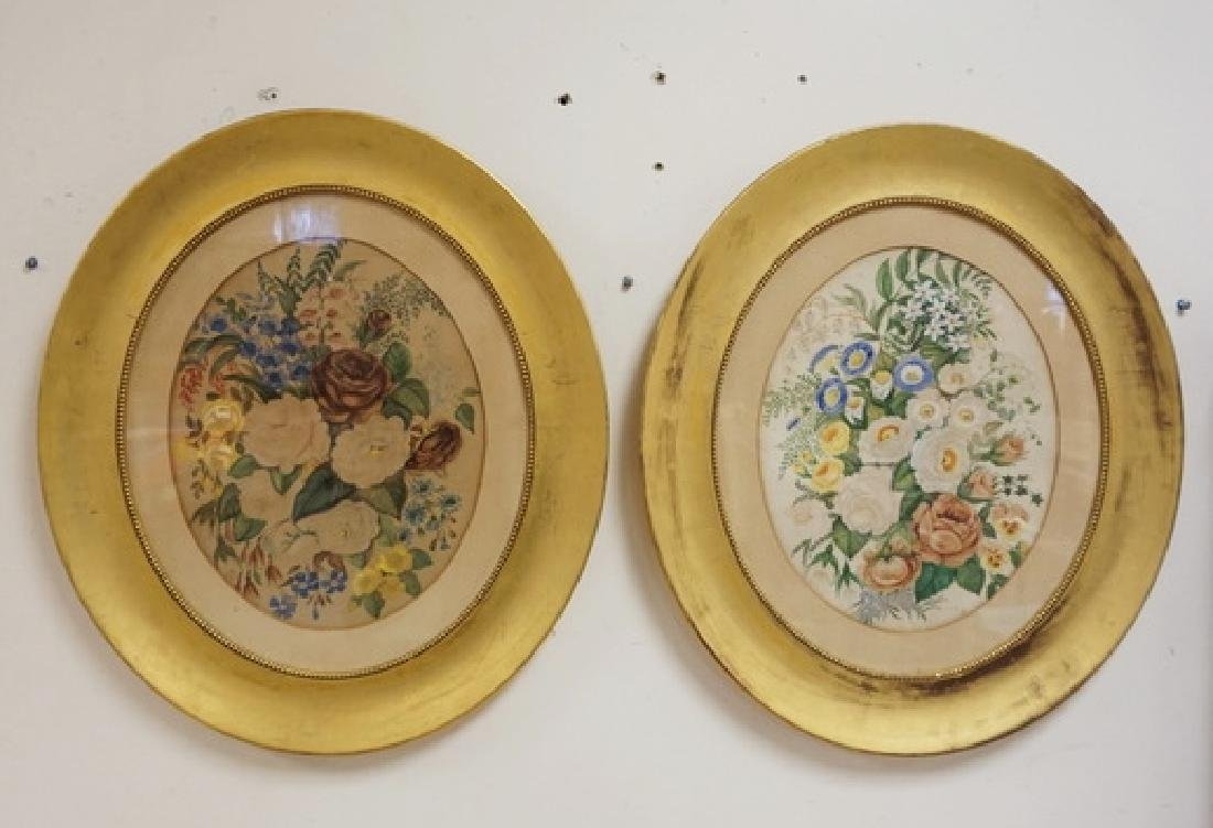 PAIR OF FLORAL PRINTS IN GOLD GILT OVAL FRAMES. - 2