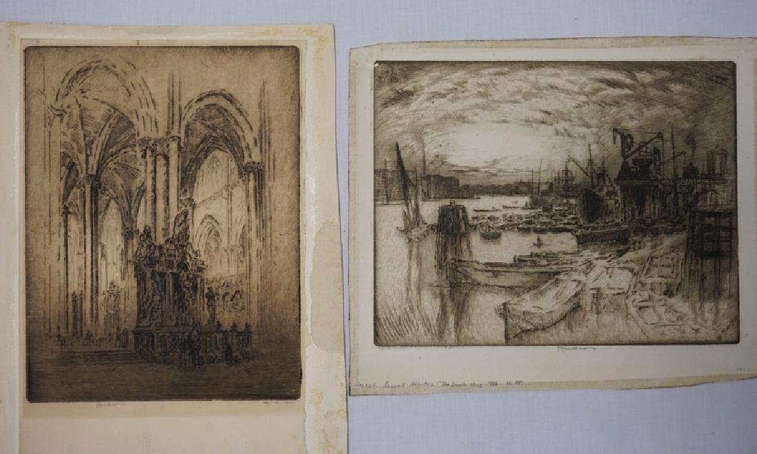 2 JOSEPH PENNELL ETCHINGS. PENCIL SIGNED. ONE INTERIOR