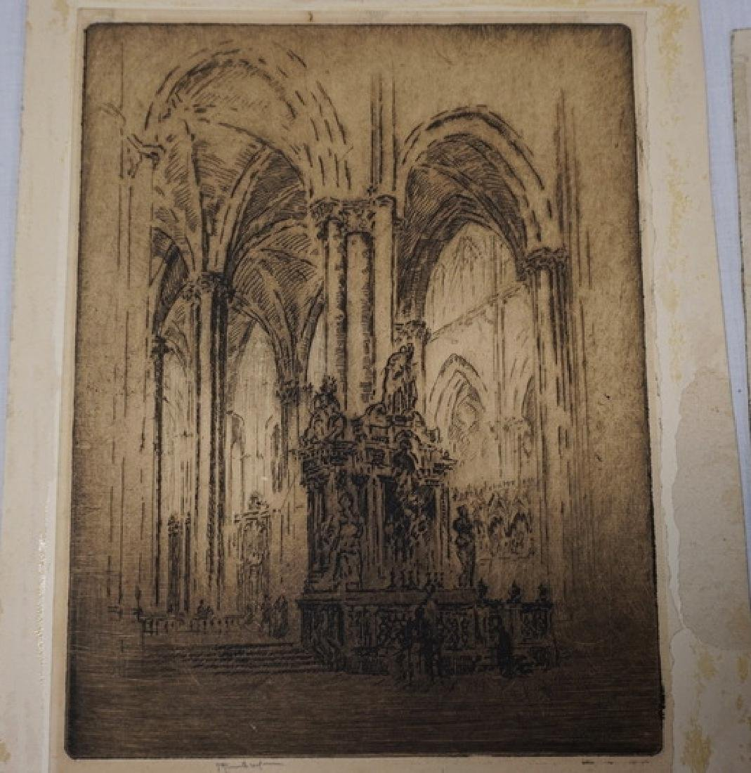 2 JOSEPH PENNELL ETCHINGS. PENCIL SIGNED. ONE INTERIOR - 4
