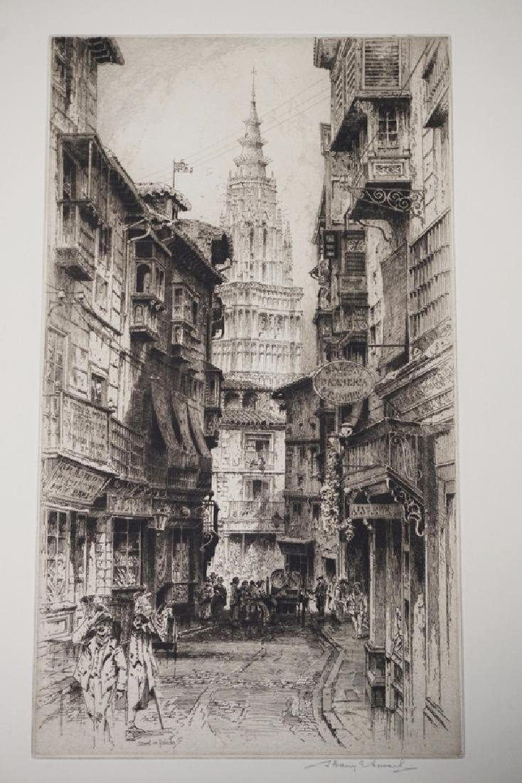 ALBANY E. HOWARTH ETCHING TITLED *STREET IN TOLEDO*. 8