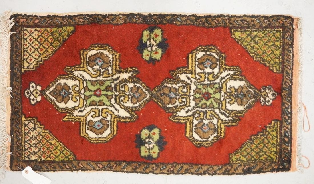 SMALL HAND WOVEN ORIENTAL RUG MEASURING 3 FT X 1 FT 8