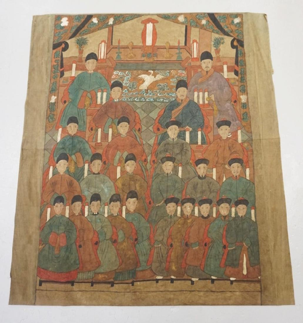 ASIAN ANCESTRAL PAINTING ON FABRIC WITH MANY FIGURES.