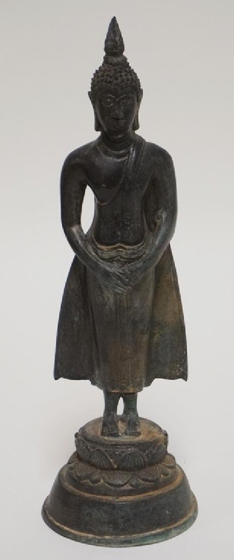 ASIAN BRONZE FIGURE MEASURING 10 INCHES HIGH.